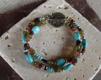 Turquoise and multi  gemstone doule strand bracelet