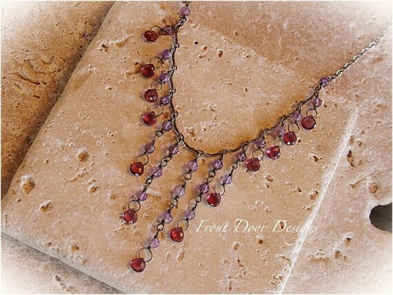 Garnet and amethyst sterling silver necklace