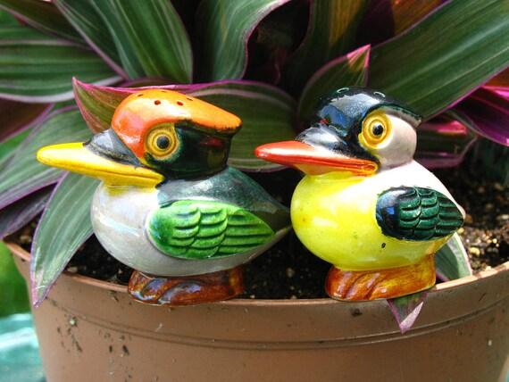 SALE Vintage Wood Ducks in Orange and Green Japan Ceramic Salt and Pepper Shakers