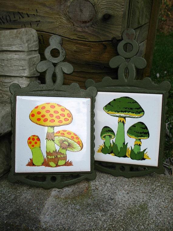 RESERVED for elvis123456 Vintage 60s Mod Trivet / Mushroom Tile / Yellow and Green  Trivet / Toadstool / Retro Trivet Set