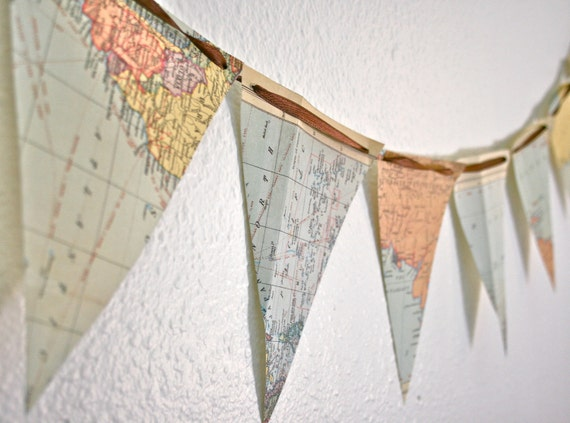 Vintage World Map Banner
