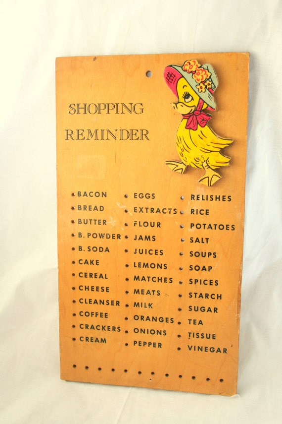 Wooden Shopping Reminder Board