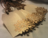 Holiday Gift Tags,10 Gold Snowflake Tags, Gold Dusted Cream & Gold Shimmer, Hanging Gift Tags, Christmas Gift Tags