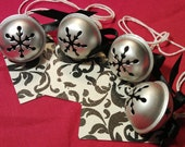 Holiday Gift Tags, 4 Black & White Ornate Silver Jingle Bell Gift Tags, Black Satin Bow, Hanging Gift Tags, Christmas Tags