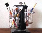Rotating Ball Jar Desk Caddy, Mason Jar Organizer, Desk Organizer, Utensil Holder, Paint Brush Holder, Make-up Organizer, Bathroom Caddy