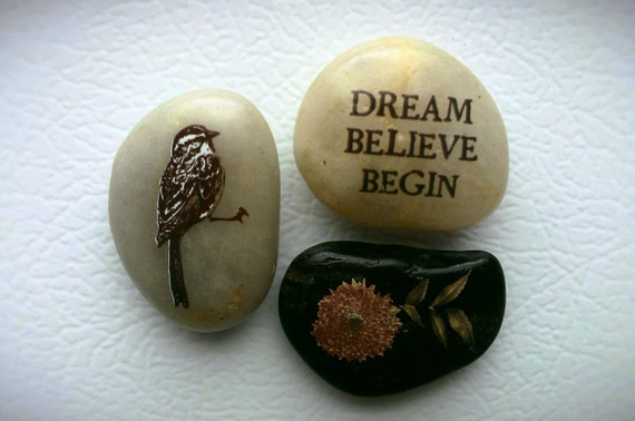 River Rock Neo Magnets, 3 Super Strong, Dream Believe Begin