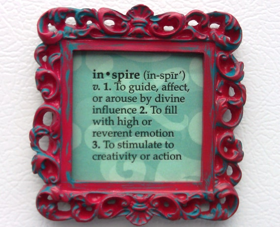 Small Square Ornate Frame, Red and Turquoise, You Choose Frame, Table Top Frame, Ornament, Neo Magnet, Chalkboard, Quote
