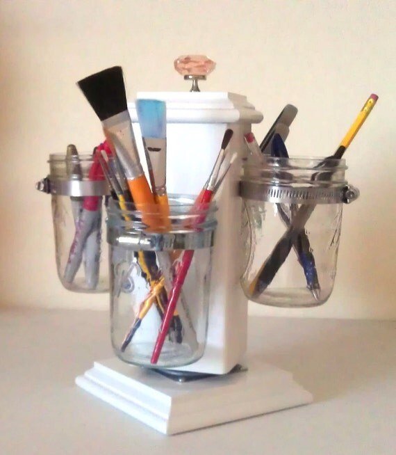 Ball Jar Desk Caddy, Desk Organizer, Utensil Caddy, Paint Brush, Pen, Pencil Holder