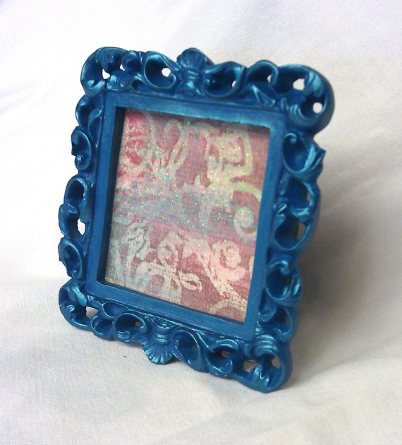 Small Square Ornate Frame, Blue and Metallic Turquoise, You Choose Frame, Table Top Frame, Ornament, Neo Magnet, Chalkboard, Quote