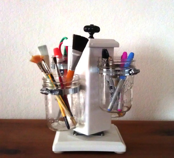 Ball Jar Desk Caddy, Desk Organizer, Utensil Caddy, Paint Brush, Pen, Pencil Holder, Make-up Organizer, Bathroom Caddy