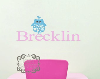 Personalized name with owl - Vinyl Wall Art