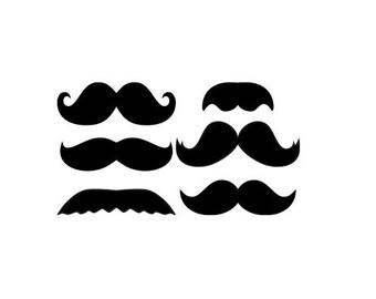 Set of 6 mustaches - Vinyl Wall Art