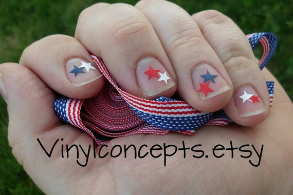 Red white and Blue star nail decals - Comes with 40 stars in each color