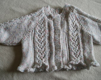 Baby girls white/multi lacey cardigan with frilled edge to fit 0 - 6 months approx