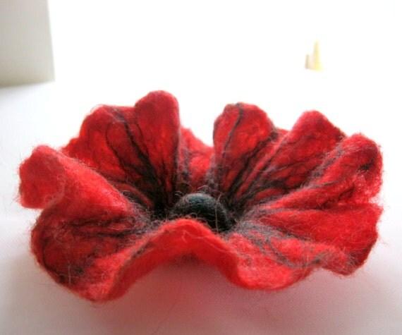 Felt Red Flower Brooch
