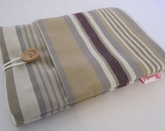 eReader Kindle Case - Beige and Purple Stripe