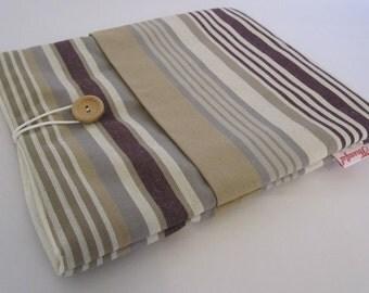 iPad Case - Beige and Purple Stripe