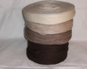 Un spun Icelandic knitting wool / Lopi in brown colours and white