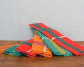 vintage french napkins from the 60's-70's, new, in red, teal and orange