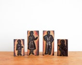 RESERVED vintage french rubber stamps:  a modern mid century family, set of four