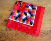vintage 70's french scarf with bright red geometric and flower print, new deadstock made my Nicole de Beauvoir Paris