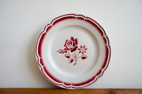 vintage french dessert plates, set of 4 french country garnet and white with flower motif
