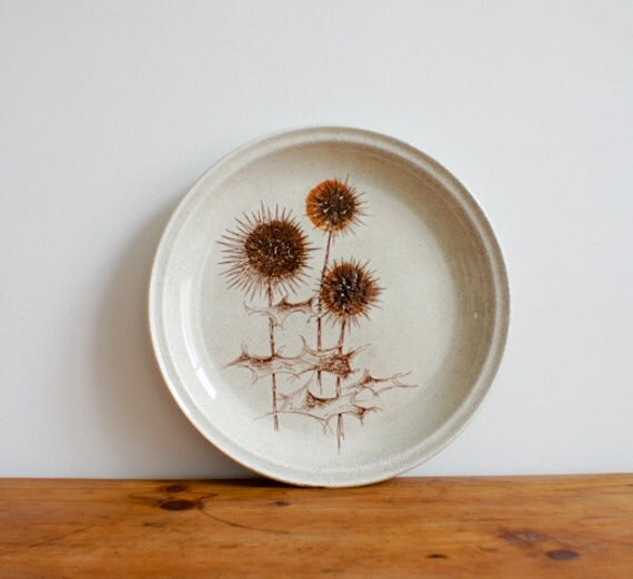 Vintage SARREGUEMINES Plate // 1970 french // handpainted thistle design // rustic brown rust  // french country