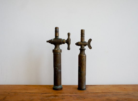 vintage bronze taps for wine tanks from the 1950's, industrial chic