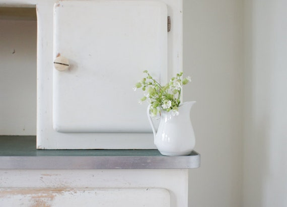RESERVED vintage earthenware pitcher/creamer in white, marked A.H & Co  V France on bottom