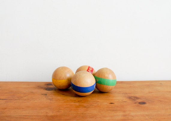 vintage french wood balls for lawn bowling, set of 4, children's toy from the 70's