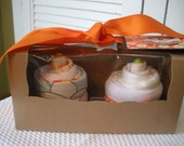 2 Pack Baby Sweets Onesie Baby Girl Cupcake Gift Set - Color Peach Parfait