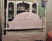 RESREVED Vintage Cottage Bed  Painted Pink White Rose Appliques 4 Poster Shabby Chic Full Size
