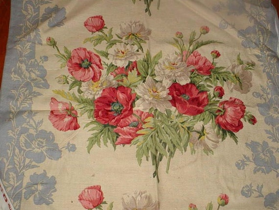 RESERVED Vintage Waverly Fabric Last Summer Floral Huge Bouquets Upholstery Pillows Wedgwood Blue Reds