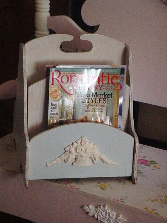 shabby chic magazine rack basket of barbola roses blue white. Black Bedroom Furniture Sets. Home Design Ideas