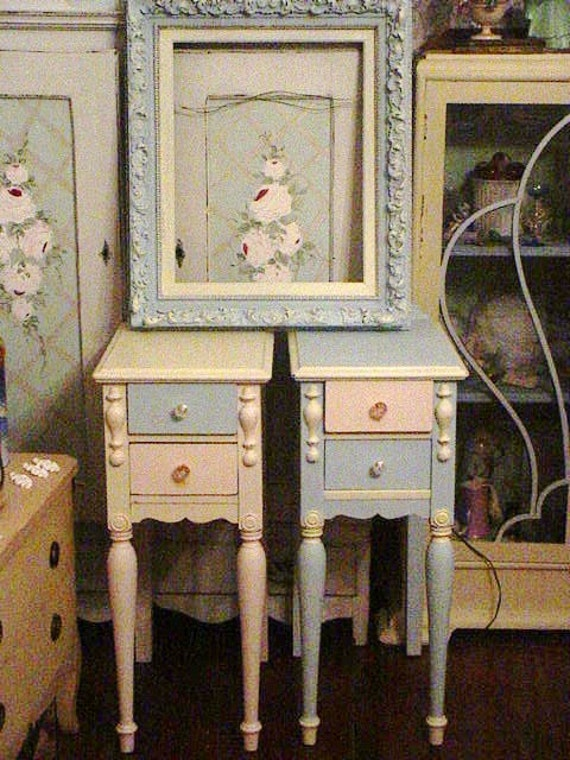 SALE Nightstands Vintage Roses Wallpaper Glass Knobs Pink and Blue Cottage Prairie Chic Furniture
