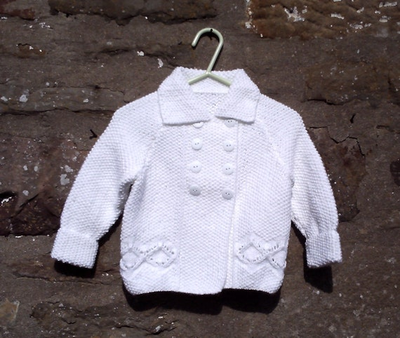 """White hand knitted baby girls jacket and beret. 18"""" (46 cm) chest."""