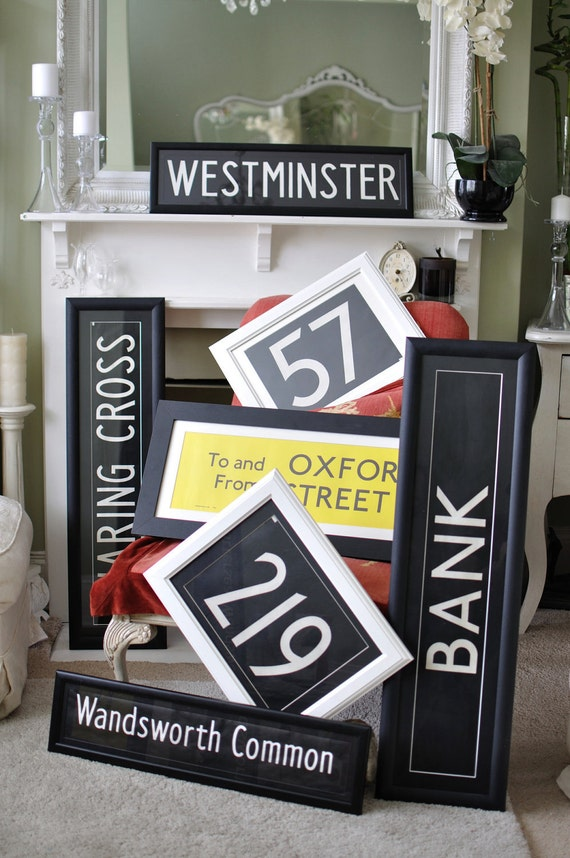 Custom Framed Vintage  London Bus Blinds.   lots of Destinations to choose from see list below