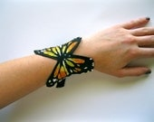 Hand Painted Monarch Butterfly Canvas Cuff