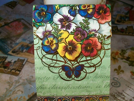French Inspired Pansy Magnetic Pocket Pad