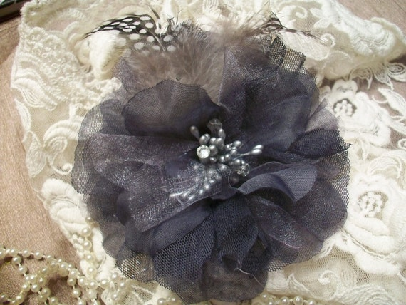 French Inspired Three Way Flower With Feathers