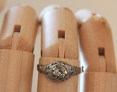 Antique Filigree Ring -:- Edwardian Filigree Solitaire Ring w Paste Stone size 7-3/4