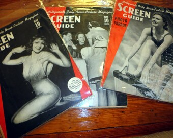 SALE ! Colletion 3 Antique SCREEN GUIDE Magazines - Hollywood Golden Age - Oscars -  Photos - Ginger Rogers Claudette Colbert 1936-1937 30s