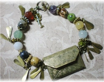 Signature Gemstones of Jerusalem Antique Style Bronzetone Envelope Bracelet