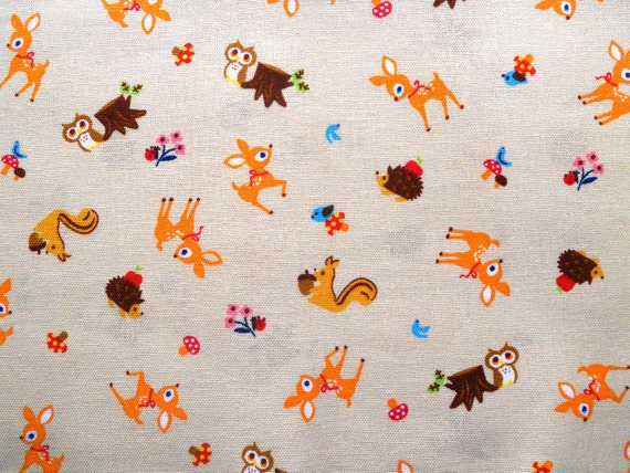 Woodland Japanese Fabric  - Fawn, Owl, Squirrel and Bluebird Friends.