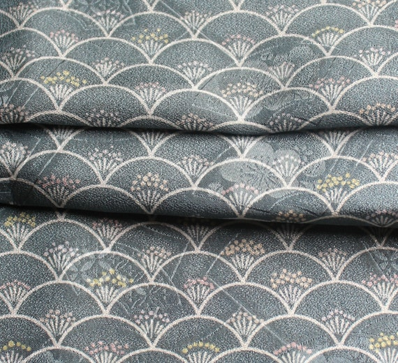 Japanese Fabric, Kimono Fabric - Grey Half Moons with Pastel Pink and Yellow Flowers