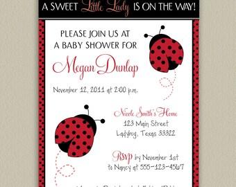 Ladybug - Little Lady Printable Baby Shower Invitation