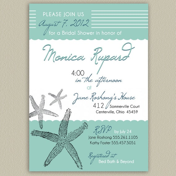 Tropical Starfish Printable Shower or Party Invitation with Color Options
