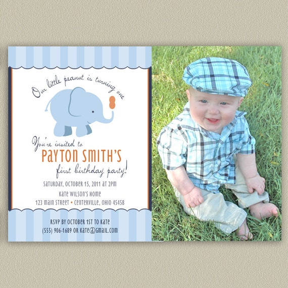Elephant - Our Little Peanut Printable Birthday Party Invitation with Color and Photo Options