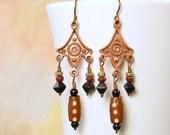 Copper Earrings Boho Dangle Rustic Tribal Copper Chandelier Earrings