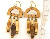 Wooden Jewelry - Wood Dangle Earrings - Bamboo Gemstone Brown Earrings